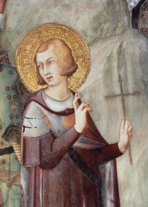 """St. Martin of Tours renounces from the military service"".-Detail: Martin. Fresco, c.1320/25. Assisi, S.Francesco. (Lower church, Martin's Chapel). (Photo: Stefan Diller)."